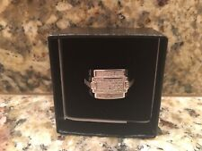 NEW - Mens 14K White Gold Over Solid Sterling Silver .30 CTW 60 Diamonds Size 11