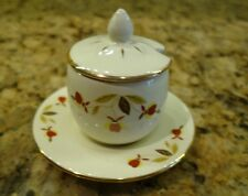 JEWEL TEA AUTUMN LEAF 22K GOLD TRIMMED MINIATURE MARMALADE JAR WITH UNDER PLATE
