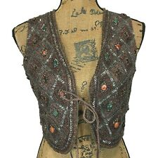 Elie Tahari 100% Silk Vest Top Heavy Bead Embellish Crop Bow Tie Party XS Sm LN