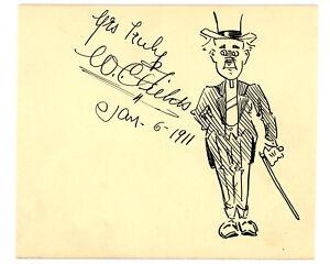 W.C. FIELDS VINTAGE 1911 ORIGINAL DRAWN SELF PORTRAIT SIGNED CUT PAPER AUTOGRAPH