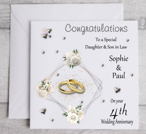Handmade Personalised Anniversary Card Daughter & Son in Law any year Son & Daug