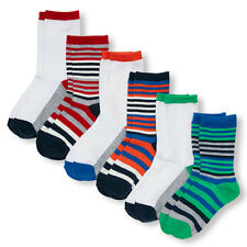 Boys Striped And Colorblock Crew Socks 6-Pack size S (11-13 SHOE SIZES)
