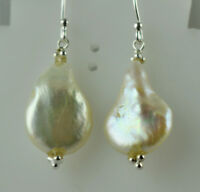 Baroque pearl Silver Drop Dangle Earrings 925 Solid Sterling Silver Handmade