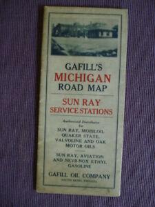 1930 Gafill Oil Company Michigan Road Map/Sun Ray Service Stations