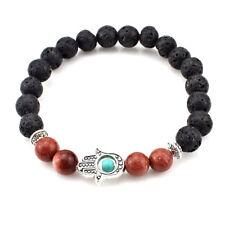 US SELLER Hamsa Yoga Palm Beaded Meditation Bracelet Lava Rock & Brown Sandstone