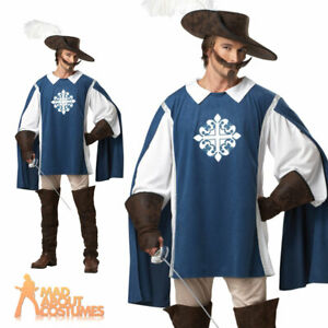 Adult Musketeer Costume Medieval Halloween Deluxe Fancy Dress Mens Outfit