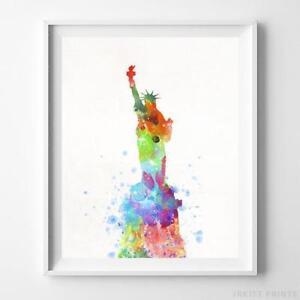 Statue of Liberty New York Wall Art Watercolor Poster Home Decor Dorm UNFRAMED