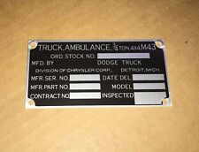 N.O.S. Dodge M37 M43 Ambulance Nomenclature Data Plate G741