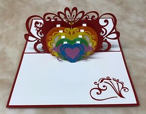 3X 3D Hearts Pop Up Greeting Card ( Pack Of 3)