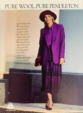 Vintage 1987 Pendleton Pure Wool Woman Dressed In Purple Print Ad Advertisement