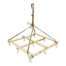 Dekorativer Deko-Hänger Deckenhänger Hängeaufbewahrung Holz mit 9 Haken 40x40cm