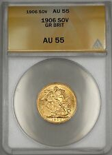 1906 Great Britain Sovereign Gold Coin ANACS AU-55 WW