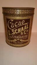 JUGENDSTIL  GROßE BLECHDOSE CACAO L. SCHAAL & CIE. STRASSBURG ELSASS UM 1900