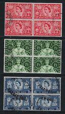 1953 Queen Elizabeth Coronation  Blocks of 4 from Great Britain...........# 412
