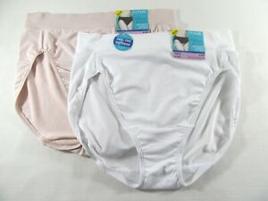 VANITY FAIR BEYOND COMFORT-2 HICUTS / PANTIES-#13212-PINK/WHITE-6 MEDIUM-NWT!