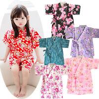 Kid Girl Japanese Jinbei Bath Robe Yukata Kimono Floral Sleepwear Pajama Set