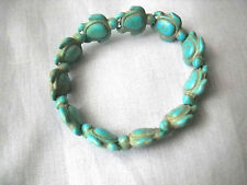 LIGHT TURQUOISE BLUE HOWLITE HONU SEA TURTLE BEADED STRETCH BRACELET 6 - 8 INCH