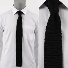 "New Man's Solid Black Slim Knit Necktie/Square End Skinny Neckwear/Width 2.16"""