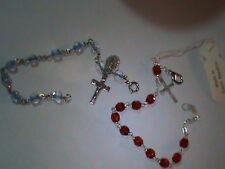Old Blue Givre Glass Rosary Bracelets & Charms 2pc (232