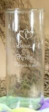 Personalized Flower Vase Wedding Memorial Glass Free etching Cylinder Vase