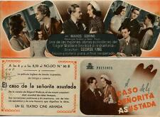 Año 1943. Programa PUBLICITARIO de CINE: el CASO de la SEÑORITA ASUSTADA.