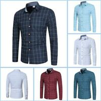 Slim Fit Shirt Mens Floral Luxury Casual Stylish Long Sleeve Top Dress Shirts
