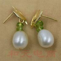 Olivine aurora AAA 8-9MM HUGE baroque pearl earrings 18K gold plating south sea