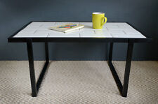 Coffee table handmade with eco-friendly, upcycled wood & a white subway tile top