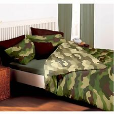 CAMOUFLAGE ARMY DOUBLE DUVET COVER & PILLOWCASES REVERSIBLE MILITARY DESIGN NEW