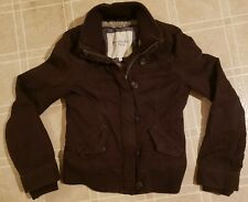Abercrombie & Fitch Women's Bomber Jacket Faux Fur Lining - Brown - Size Medium