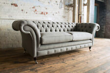 MODERN HANDMADE 3 SEATER WARM GREY WOOL CHESTERFIELD SOFA COUCH CHAIR