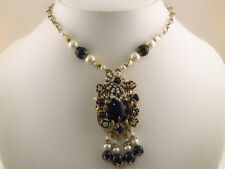 Black Simulated Pearl Crystal Necklace Earrings s0279