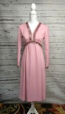 Vintage Womens Small Pink Polyester and Sequin Party Cocktail Dress Long Sleeve