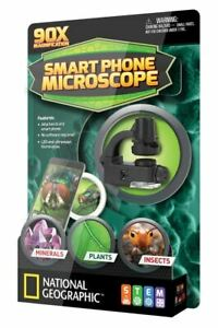 National Geographic Smartphone Microscope 90X Magnification Mounts on phone NEW