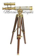 Antique Nautical Maritime Brass Double Barrel Telescope With Wooden Tripod Stand