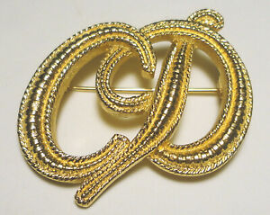"""Fabulous CHRISTIAN DIOR Logo CD Gold-Plated BROOCH/Pin 1 3/4"""" FRANCE Signed"""
