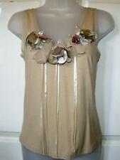 NEW STUNNING BEIGE RIBBON AND FLORAL APPLIQUE CAMISOLE TOP SIZE 14 # 921*