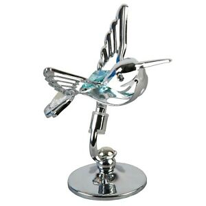 Crystocraft Chrome Plated Hummingbird Ornament With Crystal From Swarovski