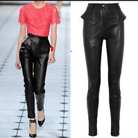 Womens Skinny Slim  Leather Stretch Black Pants Motorcycle High Waist Trousers