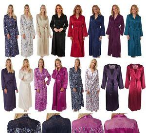 Ladies Full Length Satin Dressing Gown Wrap Bath Robe Kimono Cover Up PLUS SIZE