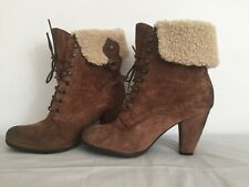 Clarks Lace Up Ankle Boots UK 5 D BROWN Suede heels FLEECE turnover FREEFLEX