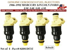 4 Fuel Injectors OEM BOSCH 1986-1992 MERCURY LINCOLN FORD 2.9L-4.9L #0280150715