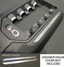BRUSHED STAINLESS ENGINE PLENUM COVER DECALS FIT 2011  2014 FORD MUSTANG 5.0 V8