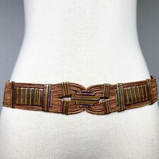 OS Vintage 70s Leather Bronze Art Deco Metal Adjustable Statement Belt Bohemian