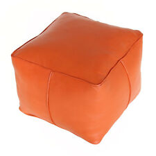Moroccan Oriental Leather Seat Cushion Stool Handmade Carre Orange