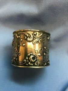 Antique Sterling Silver Gorham Rose Repousse Napkin Ring 31+ Grams