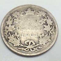 1901 Canada 25 Twenty Five Cents Quarter Canadian Circulated Coin E008