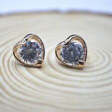 Shiny Rose Gold Plated Cute Small Hollow Cutout Heart CZ Stud Earrings Gift