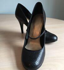ROCKPORT adiprene By Adidas UK7 Black Leather Mary Jane Stiletto Heels Snakeskin
