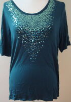 top blouse 14W large l casual stretch sequin lightweight spandex womens